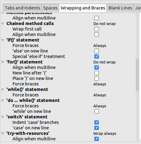 Wrapping and Braces IntelliJ